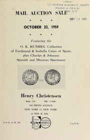 Mail auction sale : featuring the O.K. Rumbel collection ... [10/23/1959]