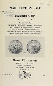 Mail auction sale : featuring the Birger Sundstrom collection ... [12/04/1959]