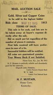 Mail auction sale of gold, silver, and copper coins, to be sold to the highest bidder ... [03/22/1913]