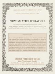 Numismatic Literature: Mail Bid Auction Sale Seventy-Two