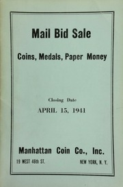 Mail bid sale : coins, medals, paper money. [04/15/1941]