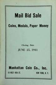 Mail bid sale : coins, medals, paper money. [06/25/1941]