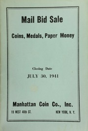 Mail bid sale : coins, medals, paper money. [07/30/1941]