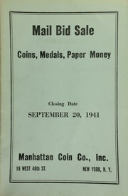 Mail bid sale : coins, medals, paper money. [09/20/1941]