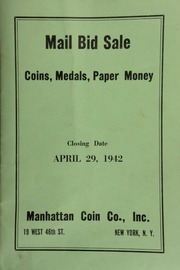 Mail bid sale : coins, medals, paper money. [04/29/1942]
