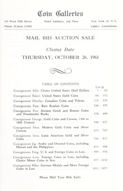 Mail Bid Sale: Featuring U.S. Coins in Gold and Silver, Canadian Coins and Tokens...