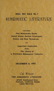 Mail Bid Sale No. 1 Numismatic Literature