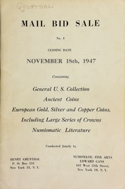 Mail bid sale No. 4 : containing general U. S. collection, ancient coins, European gold, silver, and copper coins, including large series of crowns, numismatic literature. [11/18/1947] (pg. 58)