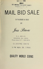 Mail bid sale : quality world coins. [11/29/1966]