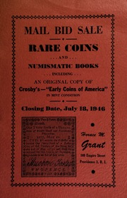 Mail bid sale : rare coins and numismatic books, including an original copy of Crosby's Early Coins of America, in mint condition. [07/18/1946]