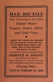 Mail bid sale : rare uncirculated and proof United States copper, nickel, silver and gold coins. [02/10/1945]