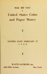 Mail bid sale : splendid collection of United States proof coins and rare paper currency [02/27/1940]