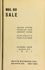Mail bid sale : United States, foreign and ancient coins, numismatic publications. [03/25/1941]