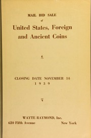 Mail bid sale : United States, foreign and ancient coins. [11/14/1939]