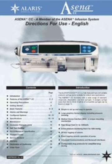 Alaris Asena Cc Syringe Pump User Manual Free Download Manual Guide