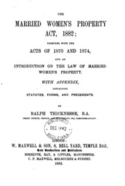 the married womens property act essay Women: essay on the position of women in india essay on the position of women in india civil marriage act, 1872 4 married women's property act.
