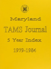 Maryland TAMS Journal 5 Year Index 1979-1984