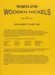 Maryland Wooden Nickels, Supplement to Part One