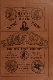 Mason's Monthly Illus. Coin Collector's Magazine & Coin Price Current, Vol.I, No. 3
