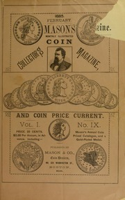 Mason's Monthly Illus. Coin Collector's Magazine & Coin Price Current, Vol.I, No. 9