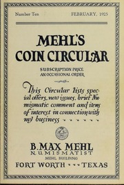 Mehl's Coin Circular, Vol. 10: This Circular Lists Special Offers, New Issues, Brief Numismatic Comment and Items of Interest in Connection With My Business
