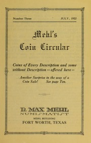 Mehl's Coin Circular, Vol. 3: Coins of Every Description and some without Description