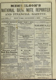 Mendelson's National Bank Note Reporter and Financial Gazette