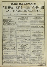Mendelson's National Bank Note Report and Financial Gazette
