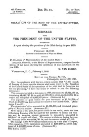 Message from the President of the United States, transmitting a report of the Director of the Mint, showing the operations of that institution during the year 1839