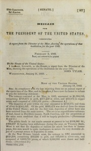 Message from the President of the United States, Communicating a Report from the Director of the Mint, showing the operations of that institution for the year 1841