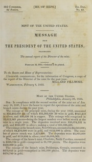 Message from the President of the United States, Transmitting the Annual Report of the Director of the Mint