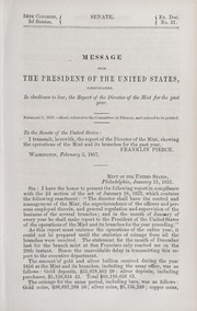 Message from the President of the United States, Communicating, in obedience to law, the Report of the Director of the Mint for the past year