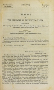 Message of the President of the United States, Communicating the Report of the Director of the Mint