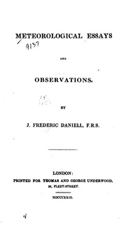meteorological observations and essays Buy meteorological observations and essays: furnished for the appendix to the report of the regents of the university of the state of new york, for 1836 on amazoncom.