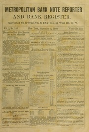 Metropolitan Bank Note Reporter and Bank Register