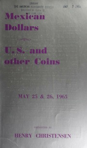 Mexican dollars : U.S. and other coins. [05/25-26/1965]