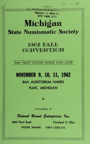 Michigan state numismatic society : 1962 fall convention. [11/09-11/1962]