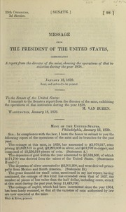 Mint of the United States : message from the President of the United States, transmitting a report of the Director of the Mint, showing the operations of that institution during the year 1838