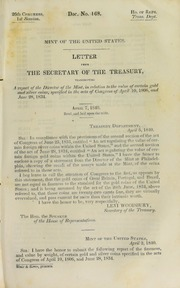 Mint of the United States : letter from the Secretary of the Treasury, transmitting a report of the Director of the Mint, in relation to the value of certain gold and silver coins ...