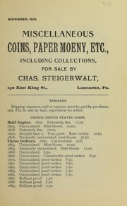 Miscellaneous Coins, Paper Money, Etc., November 1905