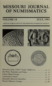 Missouri Journal of Numismatics, Vol. 18