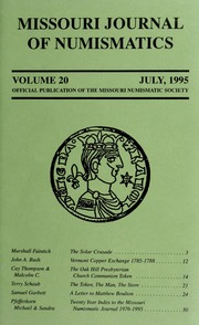 Missouri Journal of Numismatics, Vol. 20