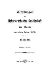 Vol nos. 1591-1664: Mitteilungen der naturforschenden Gesellschaft in Bern