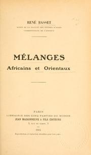 Mélanges africains et orientaux