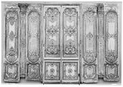 Double Door Four Panels Two Pilasters Three Gilt
