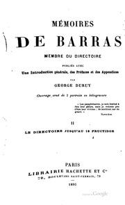Mémoires de Barras, membre du Directoire