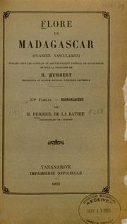 Vol fam 178: Bignoniacees: Flore de Madagascar et des Comores plantes vasculaires - publiee sous les auspices du gouvernement general de Madagascar et sous la direction de H. Humbert.
