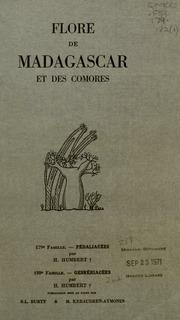 Vol fam 179: Pedaliacees: Flore de Madagascar et des Comores plantes vasculaires - publiee sous les auspices du gouvernement general de Madagascar et sous la direction de H. Humbert.