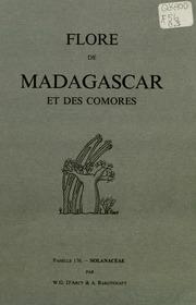 Vol fam 176: Solanacees: Flore de Madagascar et des Comores plantes vasculaires - publiee sous les auspices du gouvernement general de Madagascar et sous la direction de H. Humbert.
