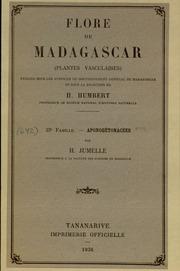 Vol fam 23: Apongetonacees: Flore de Madagascar et des Comores plantes vasculaires - publiee sous les auspices du gouvernement general de Madagascar et sous la direction de H. Humbert.